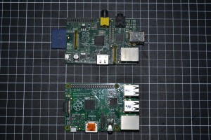 Raspberry Pi Model B with the model B+ towards the bottom of the picture. The grid is 10mmx10mm.
